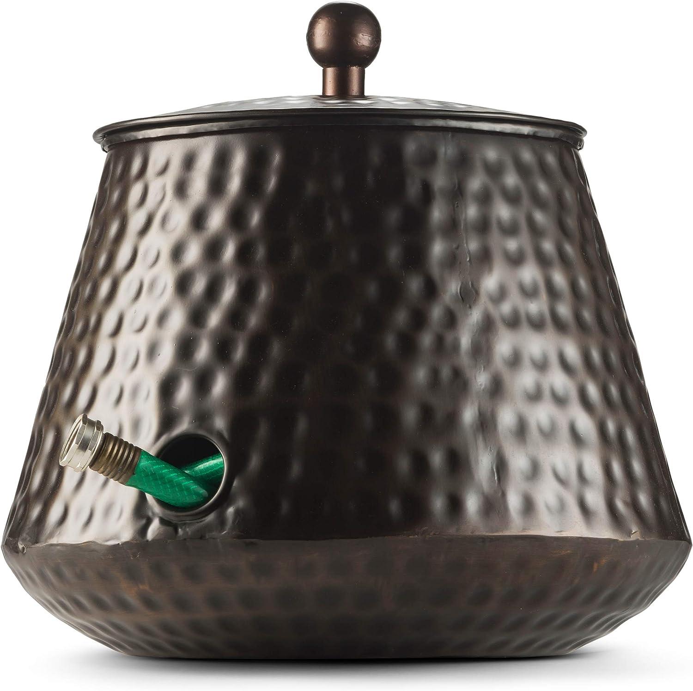 LifeSmart Decorative Garden Hose Pot Storage Holder with Lid Copper Finish 12 x 16 Inches