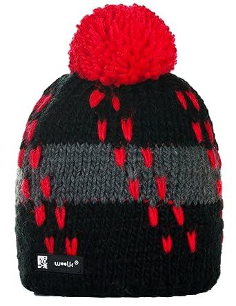 48c54e2d55be2 beanie hat woolly winter hats for unisex hats Ski Sky pom pom hat bobble  Flame 12  Amazon.co.uk  Clothing