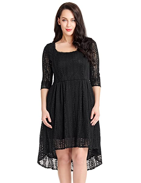 d7dc04b49bb Luvamia Women s Plus Size Black Lace Hi Lo Scoop Neck Skater Dress Cocktail  18W