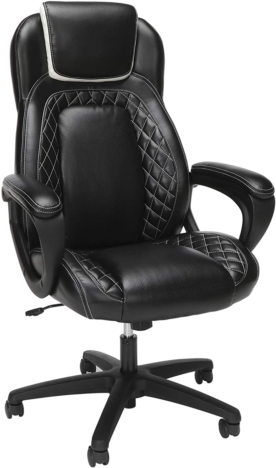 OFM Racing Style SofThread Leather High Back Office Chair, in White (ESS-6060-WHT)