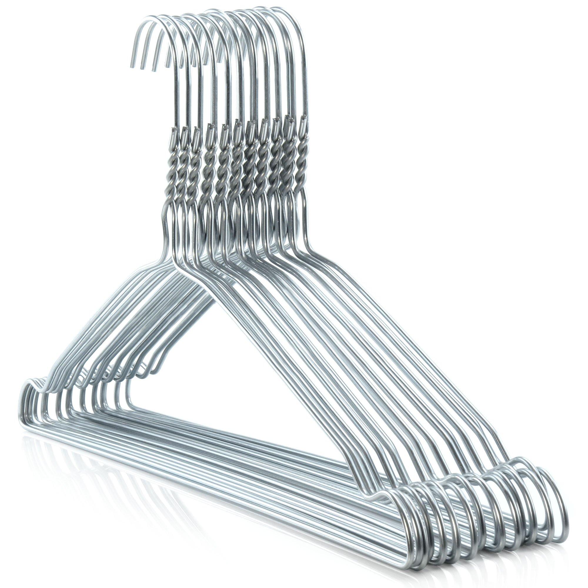 HANGERWORLD 100 Silver 16inch Metal 10 Gauge Wire Remat Pants Bar Coat Clothes Garment Hangers Notched