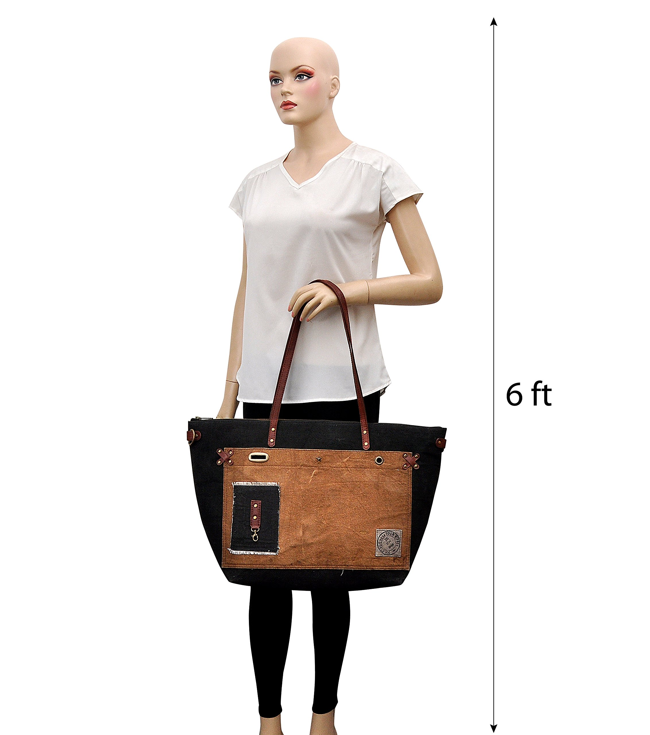 Tote bag for Women, Unique Design, Made of Canvas and Leather, Eco friendly bag, Handbags for Women by Daphne (Vitamin Sea) by Daphne's Headcovers (Image #7)