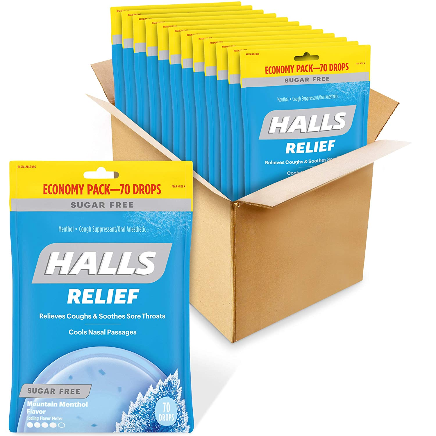 HALLS Relief Mountain Menthol Sugar Free Cough Drops, Economy Pack, 12 Bags of 70 Drops (840 Total Drops)