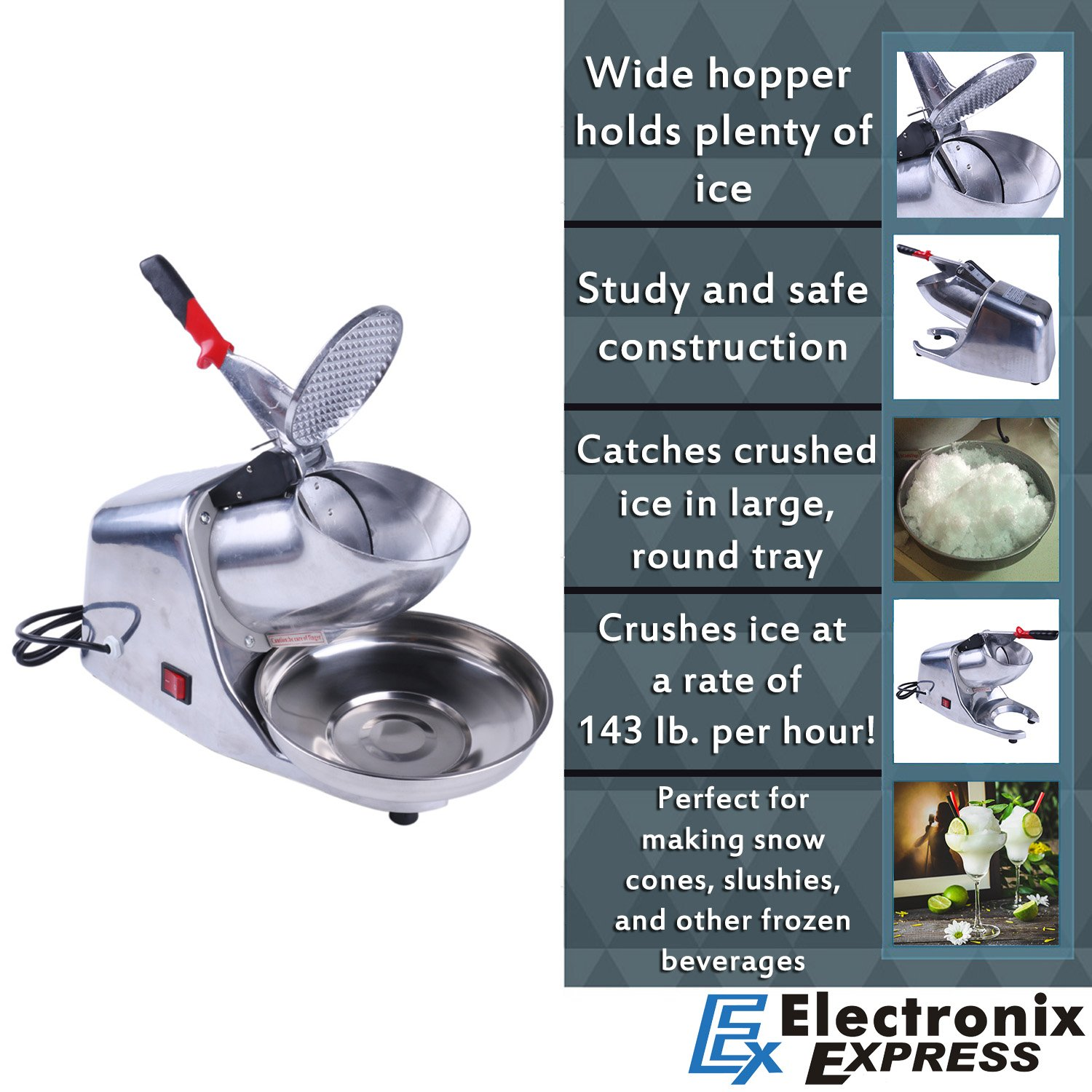 Ice Shaver Crusher Machine Shaved Snow Cone Maker 143 Pounds Per Hour by Electronix Express