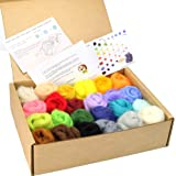 Woolbuddy Needle Felting Wool Roving, Beautiful Felting Wool, Instruction Teach You How to Mix Color- Great for Arts & Crafts
