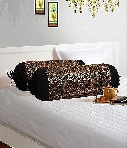Buy Stylo Culture Ethnic Polydupion Silk Cylindrical Decorative Tube Mesmerizing Cylindrical Decorative Pillows