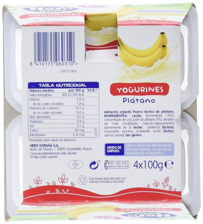 Hero Baby Yogurines Plátano - Paquete de 4 x 100 gr - Total: 400 gr - , Pack de 6: Amazon.es: Alimentación y bebidas