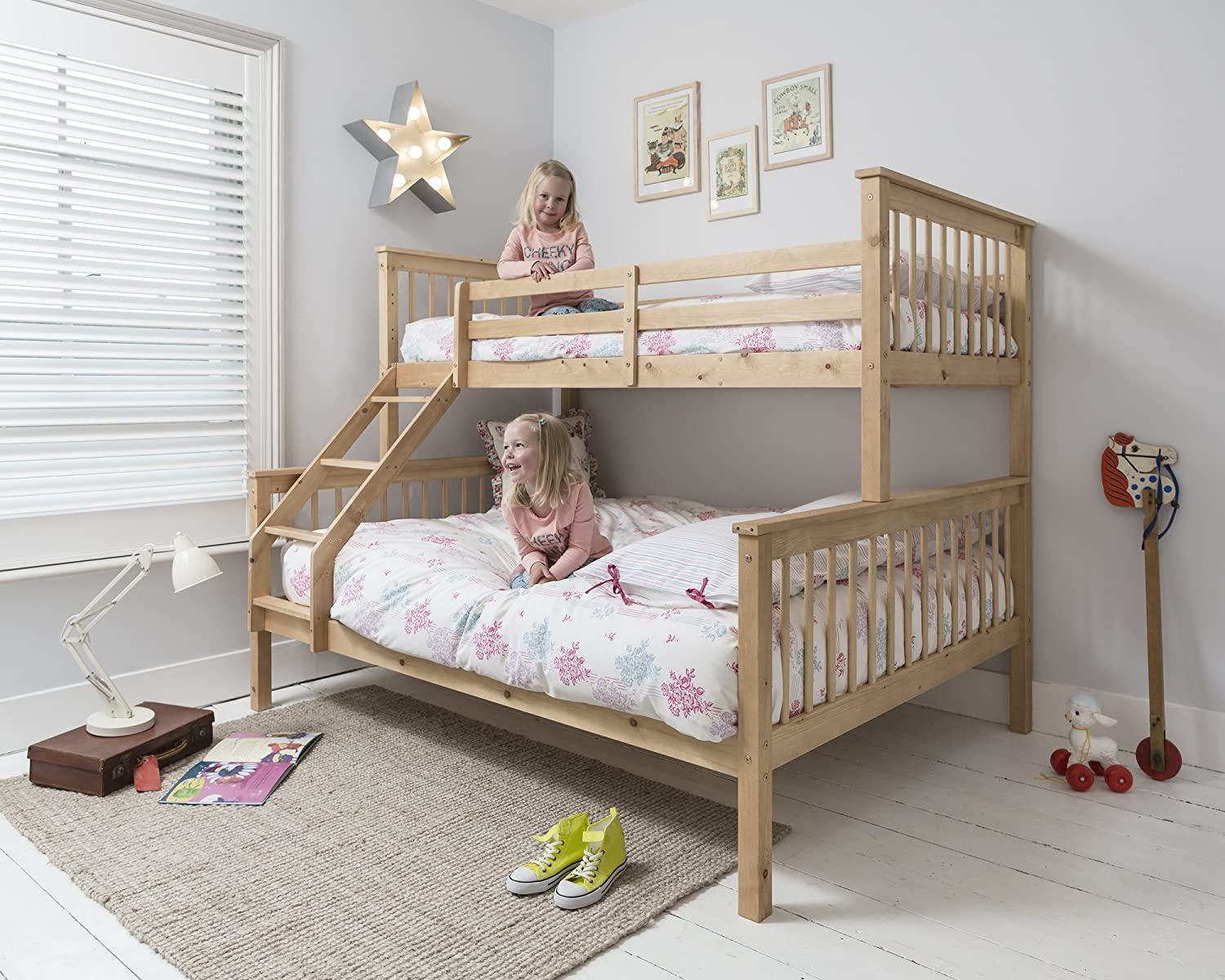 Wooden Triple Bunk Beds Cool Details About Triple Bunk Bed Single Double Solid Pine Wood Frame