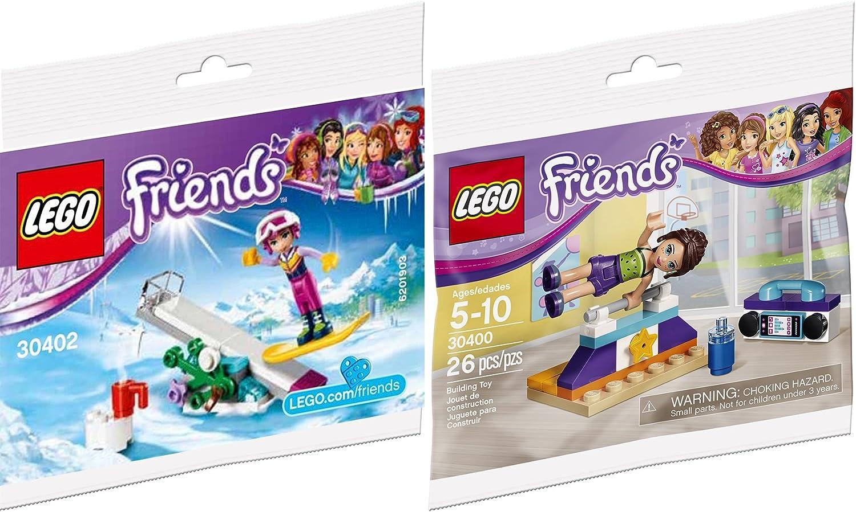 LEGO Friends Gymnastics Bar Mini Set 30400 Snowboard Winter Tricks & Figure 30402-1 Bagged Edition Building Set