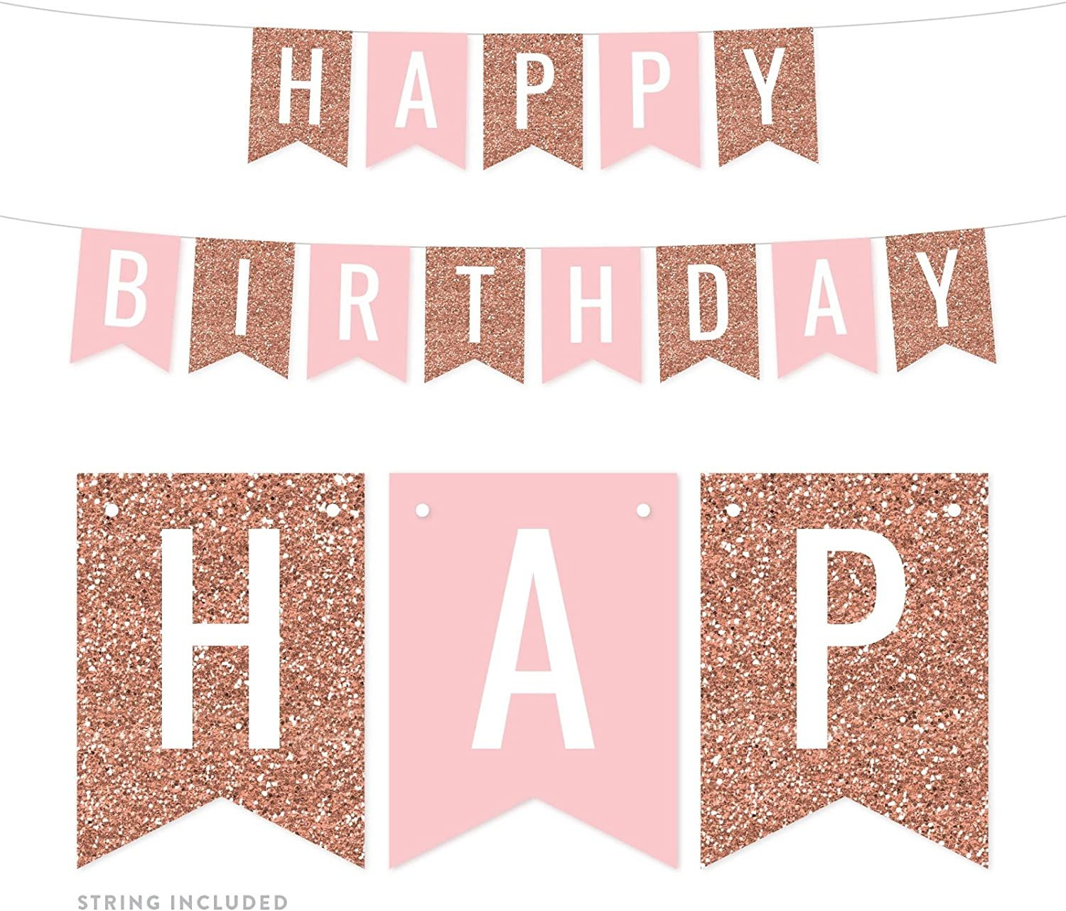 Andaz Press Hanging Pennant Banner Party Decorations, Rose Gold Glitter, Blush Pink, Happy Birthday, 1-Pack, Approx. 5-Feet, Girl's 1st Birthday Sweet 16 Mis Quince Themed Decor