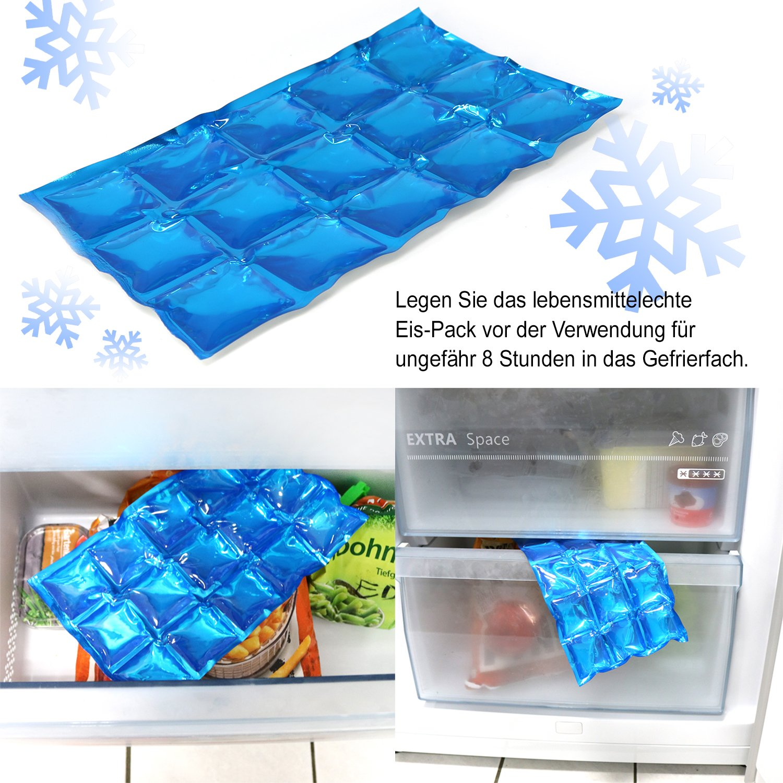 4X Flexibles EIS-Pack,Wiederverwendbare Kühlkompresse 15 Kühlzellen,25x15 cm