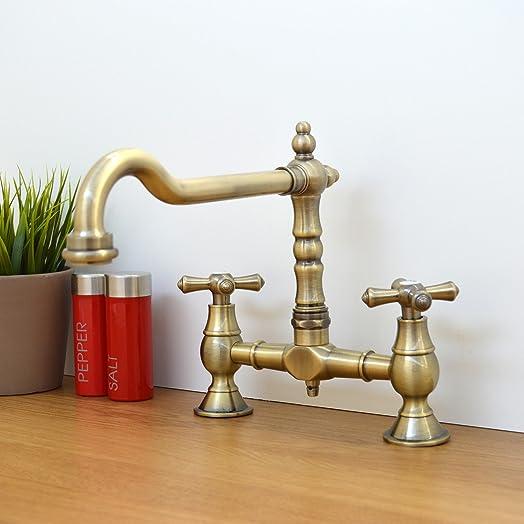 ENKI Traditional Colonial Bridge Kitchen Sink Mixer Tap Cross ...