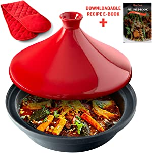 Uno Casa Tagine Pot - 3.65-Quart Moroccan Tajine with Enameled Cast Iron Base and Cone-Shaped Lid