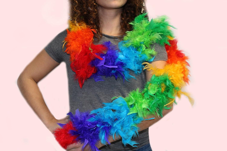 KarnevalsTeufel Federboa bunt oder zweifarbig aus 6 verschiedenen Farbvariationen w/ählbar L/änge ca Multicolor 1,80m Ideal f/ür Fasching kuschelig farbig