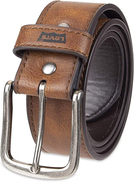 Mens Work Brown Beveled Leather Belt Sewn on Buckle closure Fashion Gift for Men
