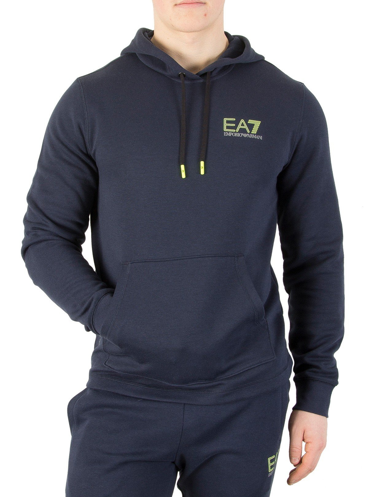 EA7 Men's Natural Ventus Pullover Hoodie, Blue, Large