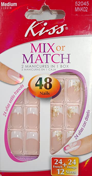 Amazon Kiss Mix Or Match Nail Kit 2 Manicures In 1 Box 24