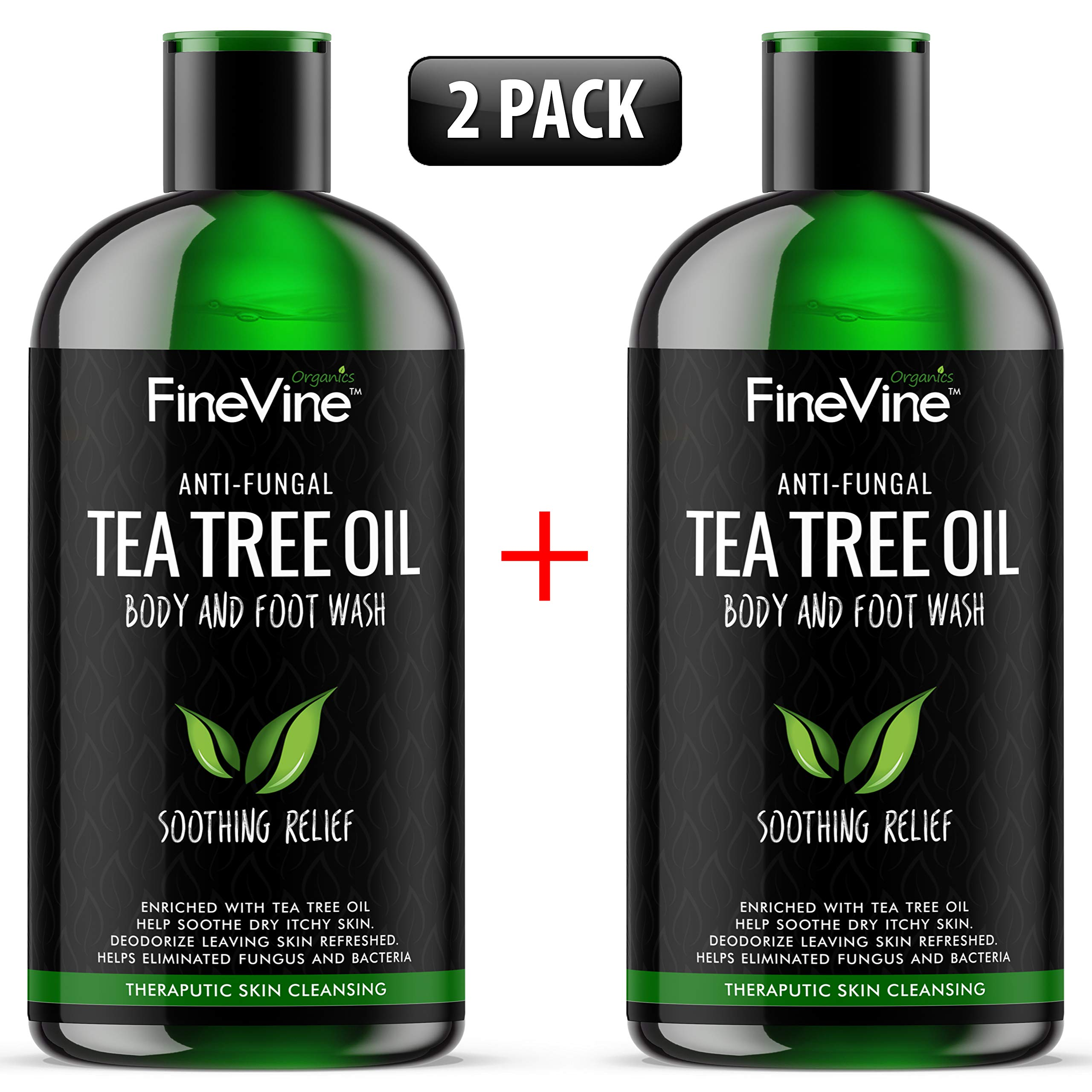 Antifungal Tea Tree Oil Body Wash - Made In USA - Helps Jock itch, Nail Fungus & Athletes Foot Treat, Eczema, Ringworm and Body Odor - Best Natural Soap For Skin Irritations. 2 Pack