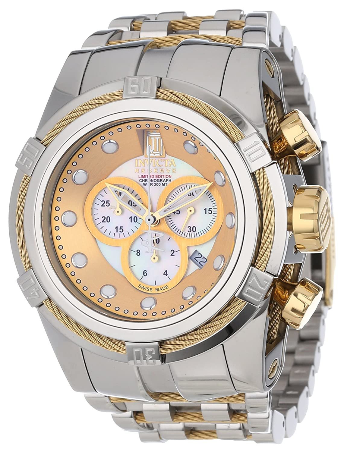 Amazon.com  Jason Taylor for Invicta Collection 12952 BOLT Zeus Chronograph  Mother-Of-Pearl Dial Stainless Steel Watc  Invicta  Watches 3b27c5b955