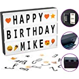Cinema Light Box Marquee with 130 Letters & Emojis, Storage Box and 8-Hour Power Timer – Mini DIY Cinematic LED Lightbox for Home Decor or Business - USB or Battery Powered (A4 Size, White)