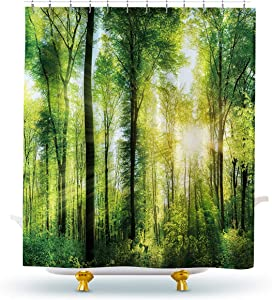 Homewelle Green Forest Shower Curtain Nature Tree Spring Sunlight Rustic Woodland Landscape Bright Sunshine 60Wx72H Waterproof 12 Pack Hooks Polyester Fabric Bathroom Bathtub