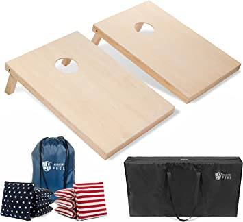 GoSports Regulation Size Bamboo Cornhole Game Set8 Bean Bags /& Carry Case