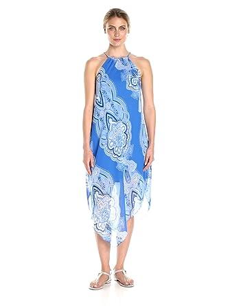 5b36af2c331 Tiana B Women s Chiffon Print Asymmetrical Hem Dress at Amazon ...