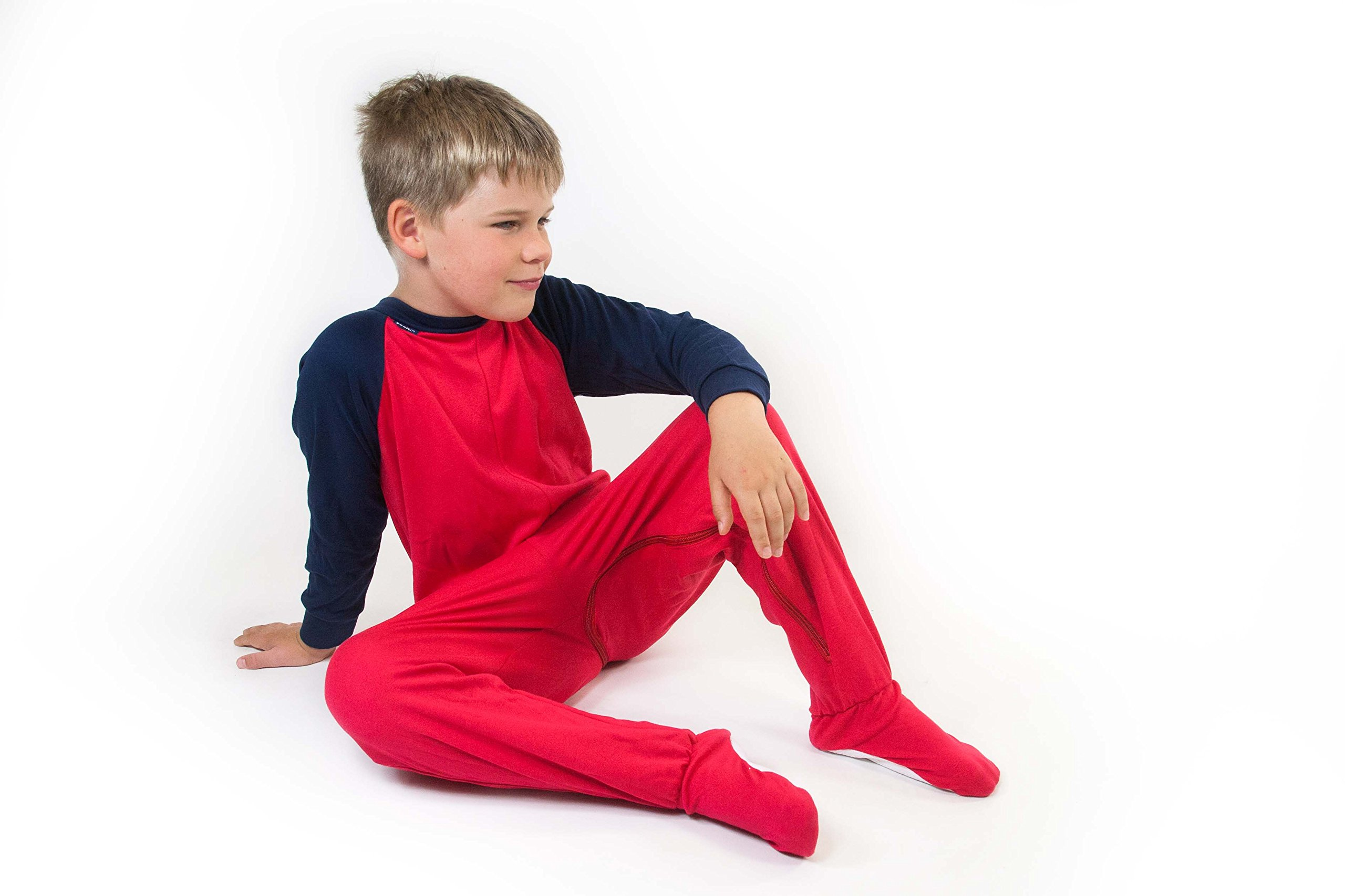 Special Needs Unisex Zip Back Footed Pajamas for Kids - RED/Navy (13-14 yrs)