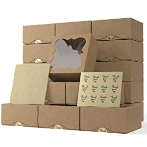 Bakery Boxes with Window 6x6x3 Inches Pack of 20 – Cookie, Cupcake, Cake, Pastry, Pie, Strawberries, Dessert, Treat Boxes -Thick Natural Kraft Paper - Easy to Assemble - Great Cookie Boxes for Gift Giving (Brown)