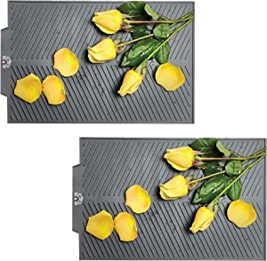 Silicone Dish Drying Mat Set of 2 - for Kitchen Counter, Eco-Friendly Microfiber, Heat Resistant Dishes Pad for Air Fryer, Trivet, Easy Fold, Dishwasher Safe, Bar Drainboard, Countertop Side Mats