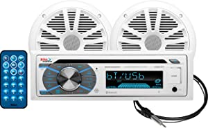 BOSS Audio Systems MCK508WB.6 Marine Receiver & Speaker Package - Weatherproof, Bluetooth Audio, USB, MP3, AM/FM, Aux-in, No CD Player, 6.5 Inch Speakers, Marine Dipole Antenna