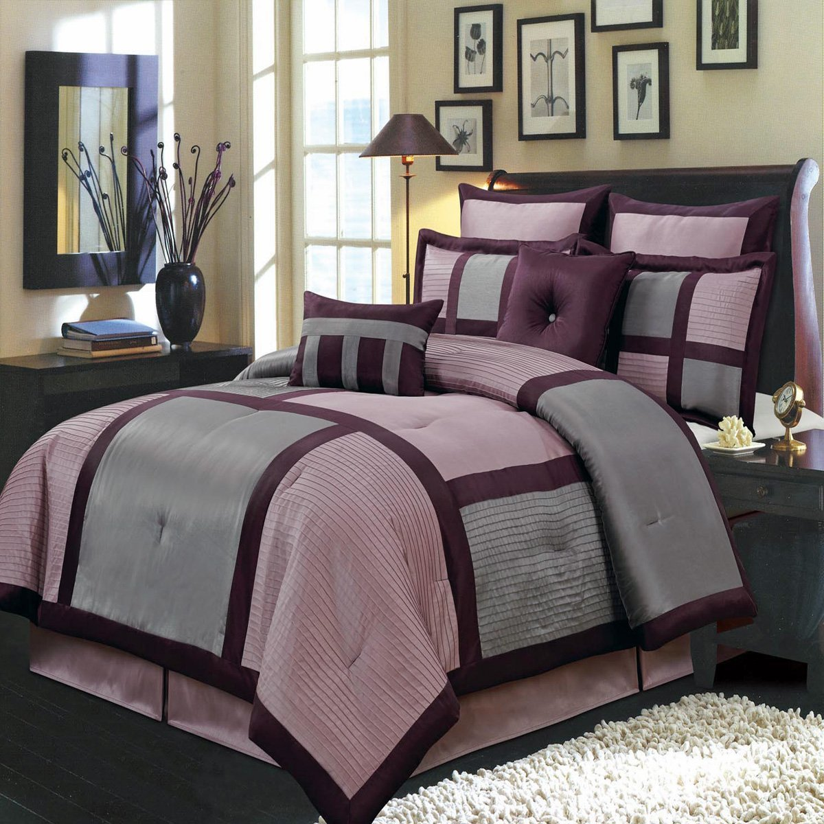 Royal Hotel Morgan Purple and Gray King size Luxury 8 piece comforter set includes Comforter, bed skirt, pillow shams, decorative pillows