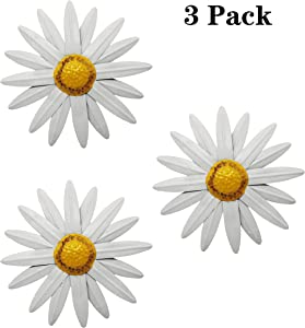 "VOTENVO 10"" Metal Flower Wall Decor, Flower Wall Art Daisy Wall Decor Hanging for Indoor Outdoor Home Bedroom Living Room Office Garden, Set of 3"