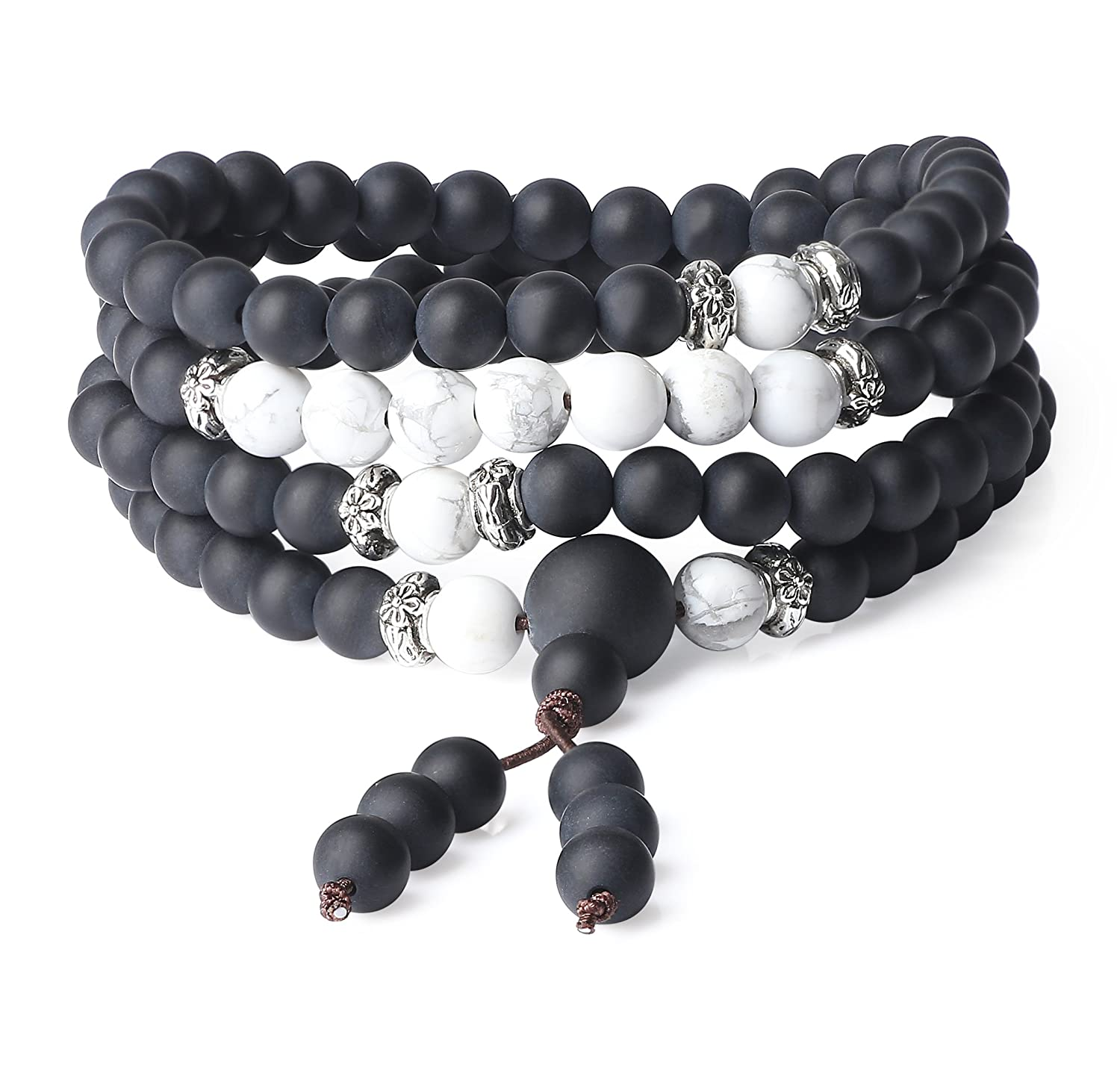 AmorWing 6mm Onyx Howlite Genuine Stones 108 Stone Beaded Mala Bracelet Necklace N393-1