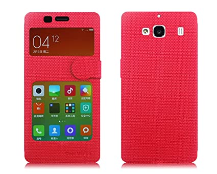 new concept 19a59 1fc3b Xiaomi Redmi 2 Prime Flip Cover With Notification Window - Cool Mango  iMaterial Window Flip Cover / Case for Xiaomi Redmi 2 Prime - Cherry Red