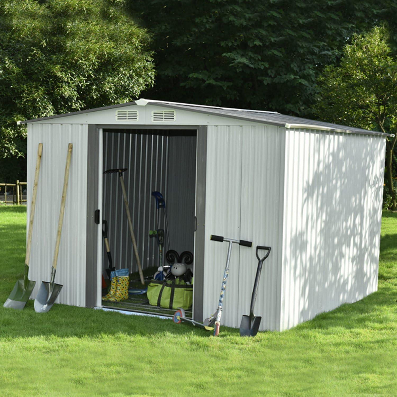 Cobertizo de walcut Nueva Herramienta de utilidad de almacenamiento Acero de jardín exterior Patio Césped Edificio Garaje con puerta corredera: Amazon.es: Jardín