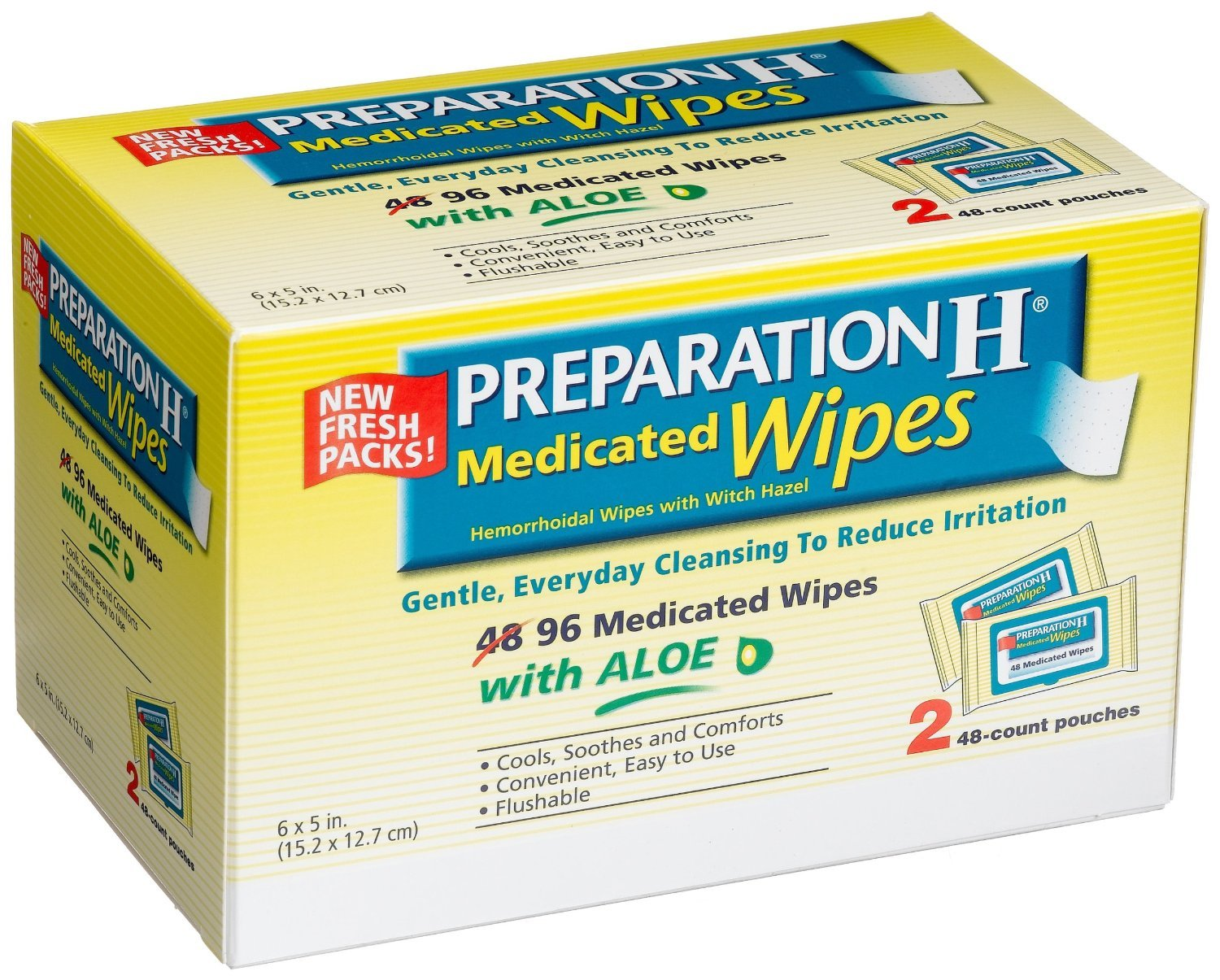 Preparation H Wipes Refill, Medicated, 96 Count (Pack of 3) Preparation-tx