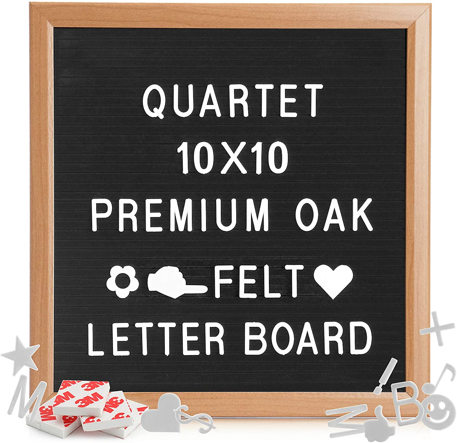 """Quartet Felt Letter Board with Letters and Numbers, 10x10"""" Small Wooden felt board Letter Sign for Word Memo Message, 200 White Letters & Numbers Included, Baby Announcement Changeable letter Board."""
