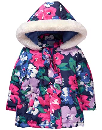 3a2d025945bf Amazon.com  Gymboree Girls  Toddler Floral Print Puffer Jacket  Clothing