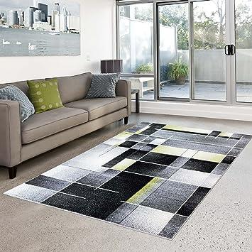 Carpet City Teppich Moda Flachflor Modernes Design Kariert Türkis Schwarz  Grün Wohnzimmer, Größe In Cm