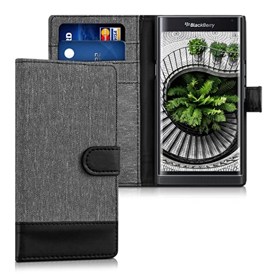 kwmobile Wallet Case for BlackBerry Priv - Fabric and PU Leather Flip Cover  with Card Slots and Stand - Grey/Black