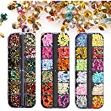 Tingbeauty 6400pcs Nail Art Rhinestones Nail Gems Crystals Colorful Round Beads Star Leaf Shaped Nail Diamonds for Nail Art Supplies Accessories