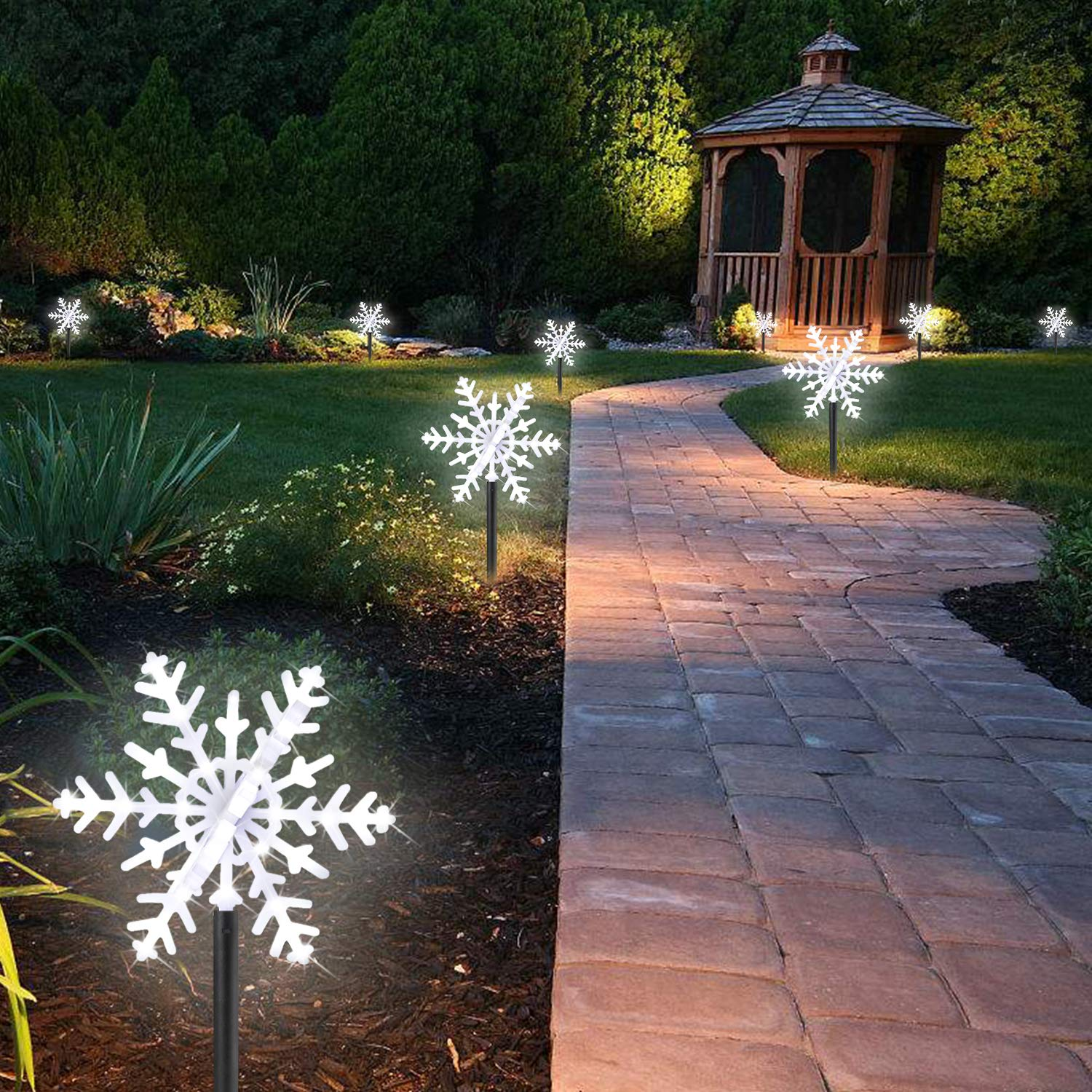 Led Pathway Lights Outdoor Landscape Light Ip65 Lighting On Wiring Diagram For Garden Waterproof Winter Snowflake Lamp Christmas Fairy 3d Snow Decorations