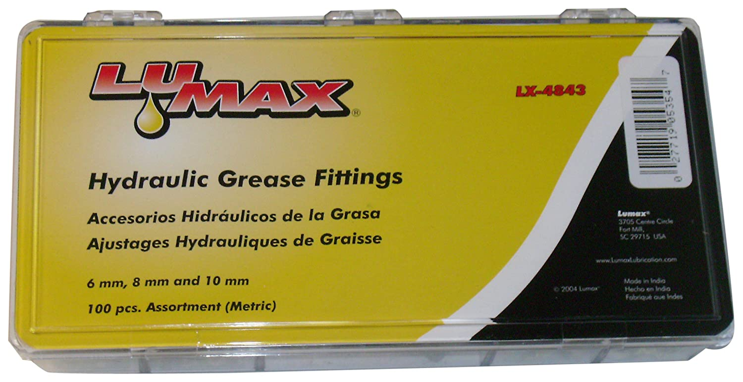 Lumax LX-4843 Gold/Silver 6mm x 1 and 8mm x 1 and 10mm x 1 (Metric) 100 Piece Grease Fitting Assortment