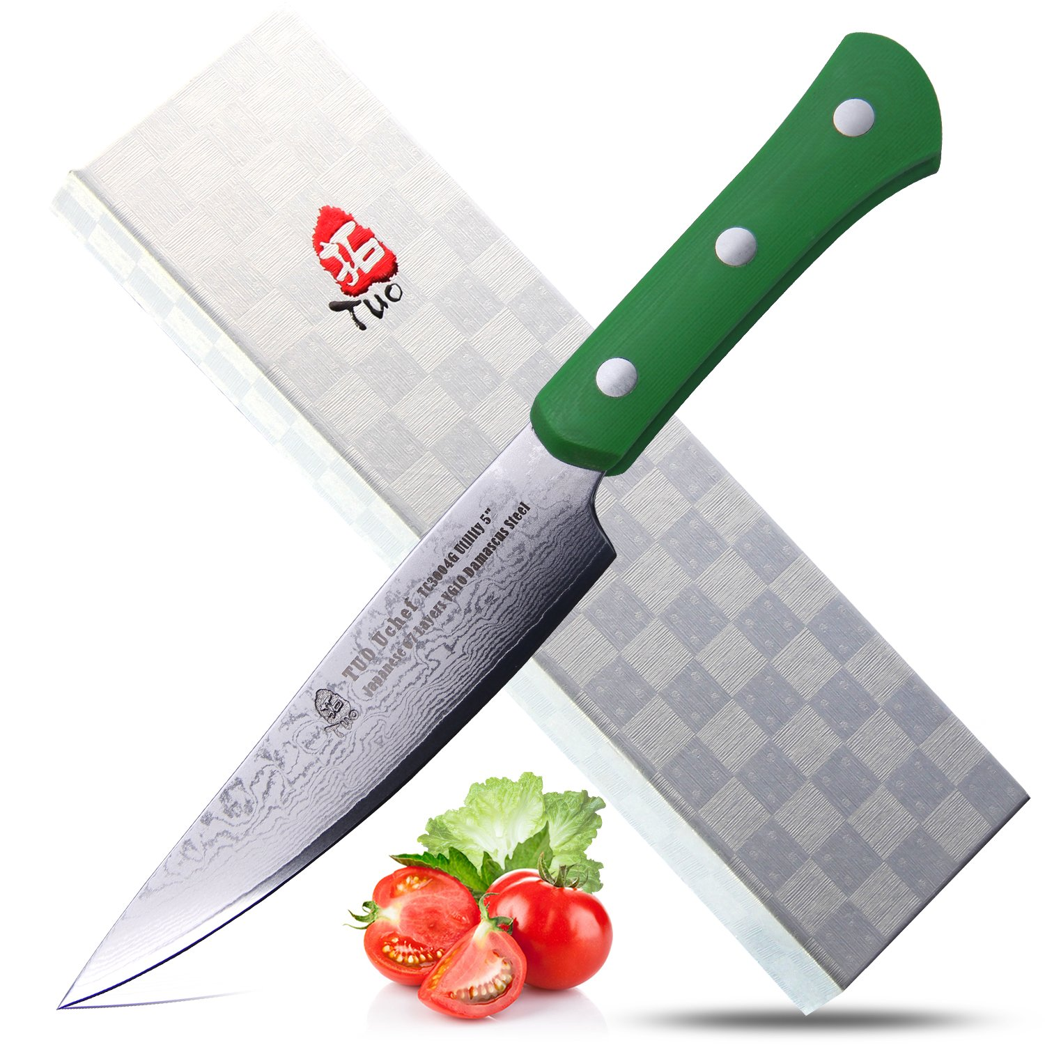 TUO Cutlery Damascus Utility Knife 5'' Green Handle - Uchef Series Multi Color - Japanese 67 Layers VG-10 Damascus Steel
