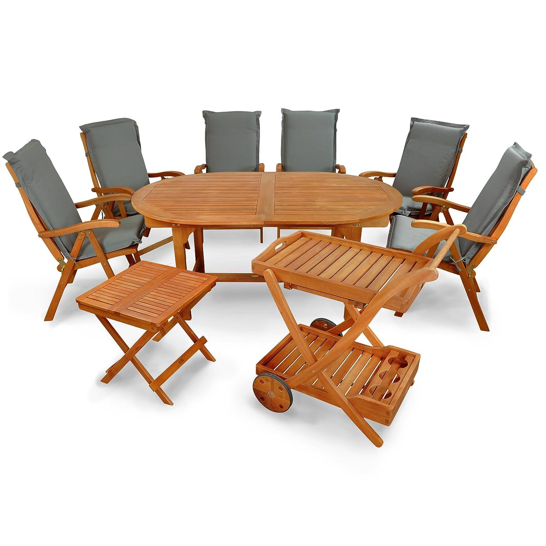 indoba® IND-70066-SFSE9BTSW + IND-70422-AUHL - Serie Sun Flair - Gartenmöbel Set 15-teilig aus Holz FSC zertifiziert - 6 klappbare Gartenstühle + 1 ausziehbarer Gartentisch + 1 Beistelltisch + 1 Servierwagen + 6 Premium Sitzauflagen grau