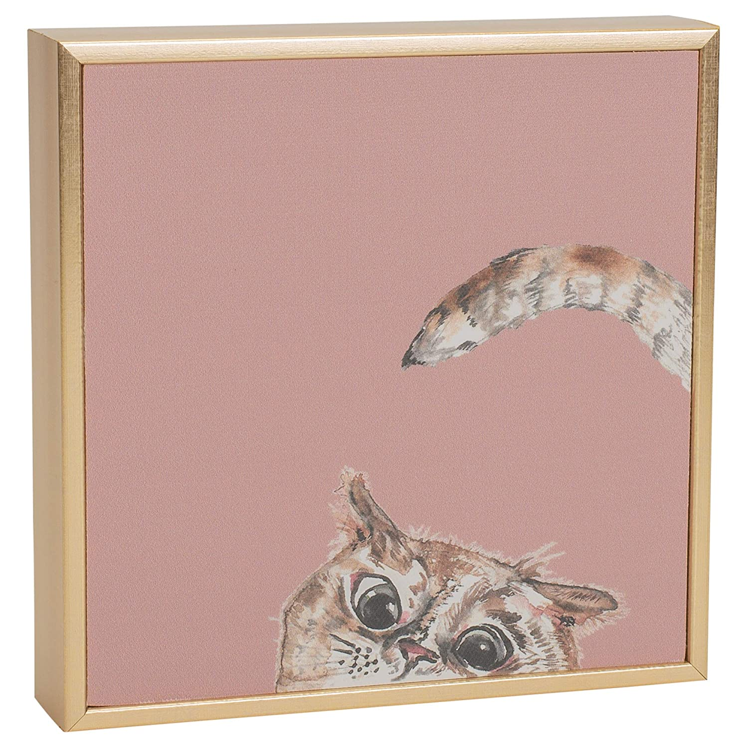 Ever Ellis Cat Mini Canvas Art Pink And Gold 6 x 6 Polycast Tabletop or Wall Plaque