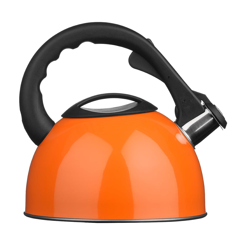 Premier Housewares 0505133 Bollitore a Fischio, 2.5 lt, Inox, Arancione/Acciaio