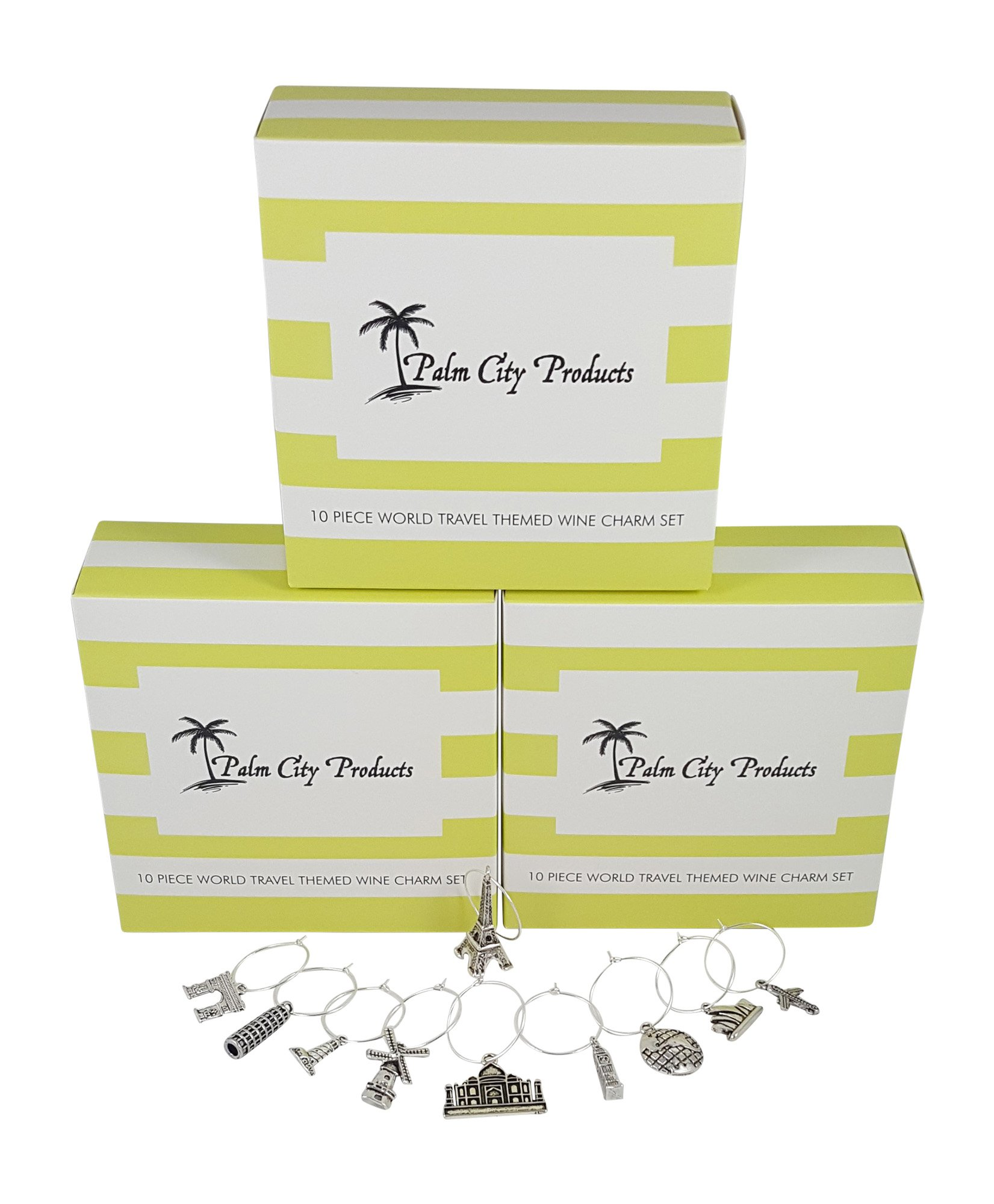 Palm City Products Bundle of 3 Travel Themed Charm Sets by Palm City Products
