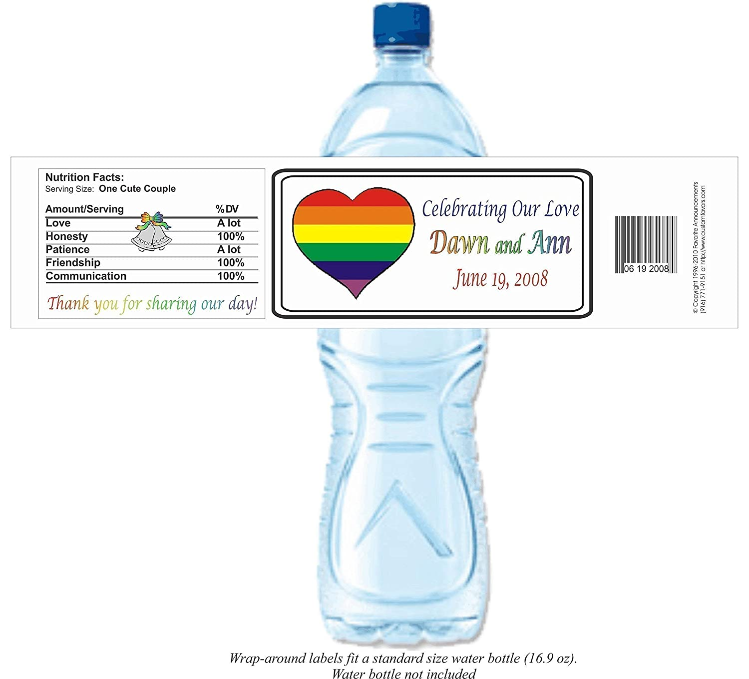 Amazon Com Rainbow Heart Personalized Water Bottle Labels